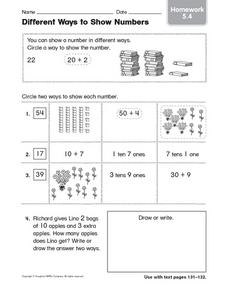 Different Ways to Show Numbers homework 5.4 Worksheet