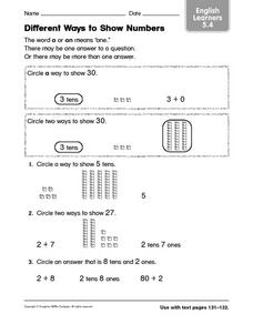 Different Ways to Show Numbers ELL 5.4 Worksheet
