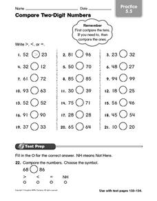 Compare Two-Digit Numbers practice 5.5 Worksheet