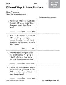 Different Ways to Show Numbers: Problem Solving Worksheet