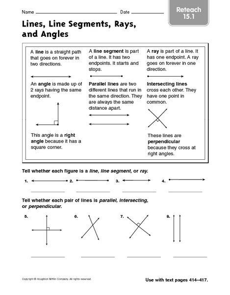 Lines Line Segments Rays And Angles Reteach 15 1 Worksheet For