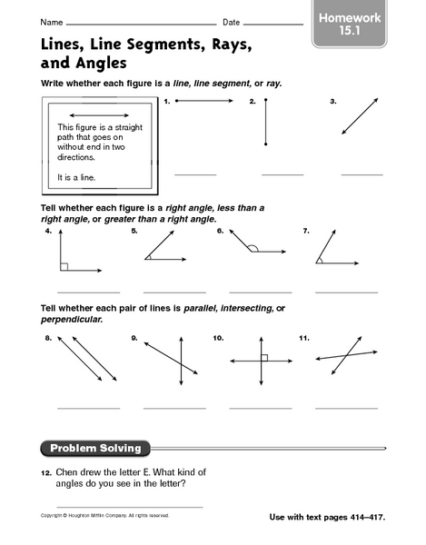 Lines Line Segments Rays And Angles Homework 15 1 Worksheet For