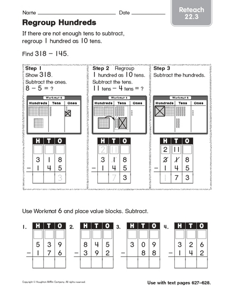 Regroup Hundreds reteaching 22.3 Worksheet