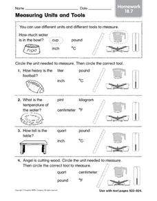 measuring units and tools homework 18 7 worksheet for 1st 3rd grade lesson planet. Black Bedroom Furniture Sets. Home Design Ideas