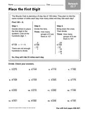 Place the First Digit - Reteaching Worksheet