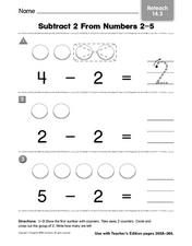 Subtract 2 From Number 2-5 - Reteach Worksheet