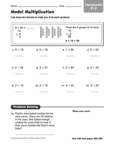 Model Multiplication  homework 21.2 Worksheet
