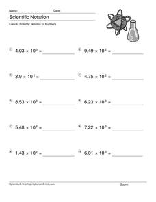 Convert Scientific Notation to Numbers Worksheet