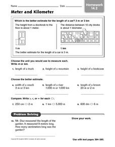 Meter and Kilometer  homework 14.2 Worksheet