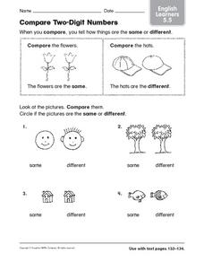 Compare Two-Digit Numbers: English Learners Worksheet