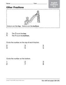 Other Fractions: English Learners Worksheet