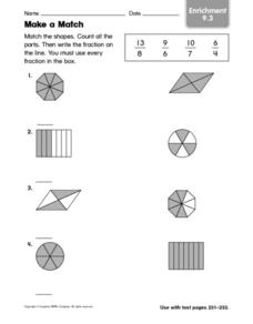 Match a Shape: Fraction Enrichment Worksheet