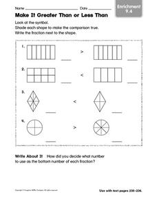 Make It Greater Than or Less Than: Enrichment Worksheet