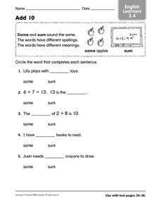 Add 10 ELL 2.4 Worksheet