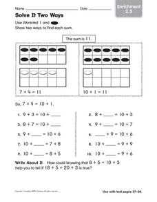Solve It Two Ways: Enrichment Worksheet