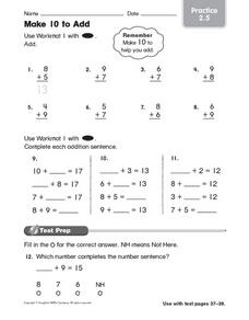 Make 10 to Add: Practice Worksheet