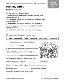 Multiply With 3: English Learners Worksheet