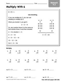 Multiply With 6: Reteach Worksheet