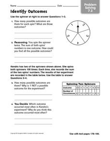 Identify Outcomes: Problem Solving Worksheet