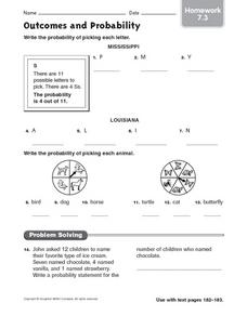 Outcomes and Probability: Homework Worksheet