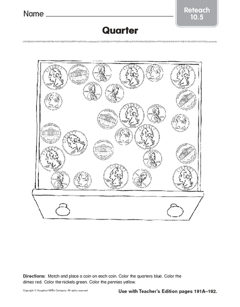 Quarter Coin Identification Worksheet For Pre K