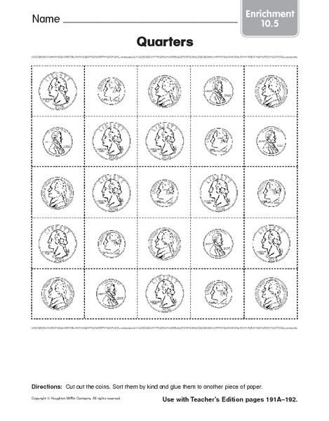 Quarters Coin Identification Worksheet For Pre K