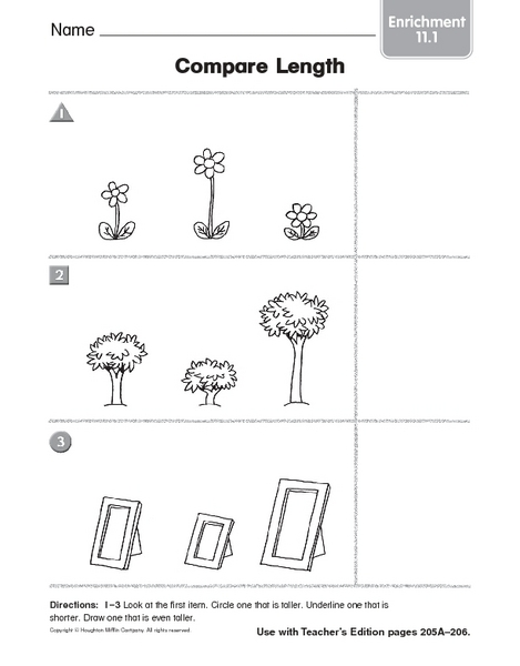 compare length enrichment 11 1 worksheet for kindergarten 1st grade lesson planet. Black Bedroom Furniture Sets. Home Design Ideas