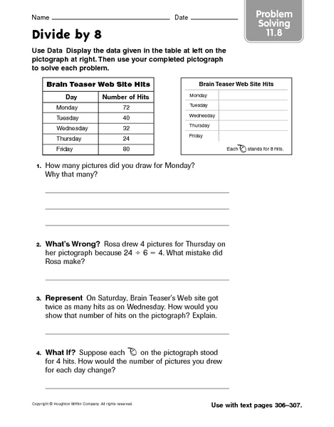 Divide by 8  problem solving 11.8 Worksheet
