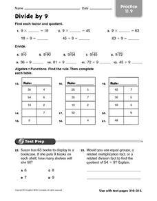 Divide by 9  practice 11.9 Worksheet