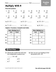 Multiply With 8 Practice Worksheet