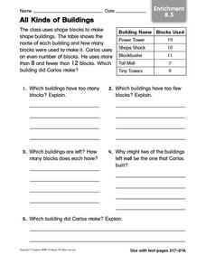 All Kinds of Buildings: Enrichment Worksheet