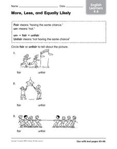 More, Less, and Equally Likely ESL Worksheet