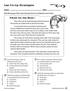 Use Fix-Up Strategies: Built for the River Worksheet