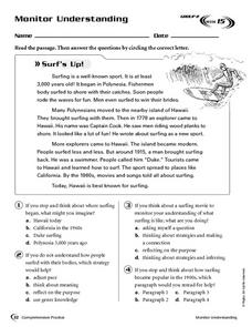 Monitor Understanding: Surf's Up! Worksheet
