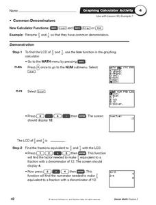 Graphing Calculator Activity for finding common denominators Worksheet