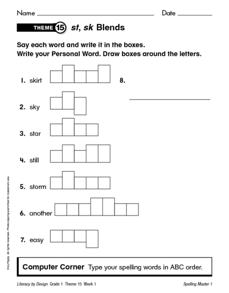 Spelling Unit Consonant Blends And Digraphs Worksheet For 1st 2nd