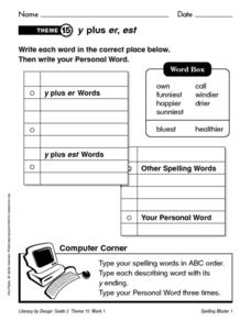 Y Plus Endings, Verb Endings and Compound Words Worksheet