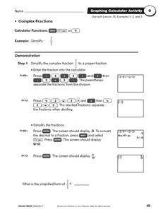 Graphing Calculator Activity Worksheet