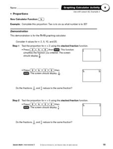 Graphing Calculator Activity - Proportions Worksheet