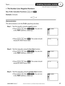 Negative Numbers on the Number Line Using the TI-83 Worksheet