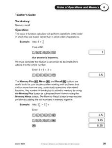 Order of Operations and Memory Worksheet