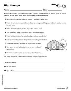 Diphthongs: Week 8 Worksheet
