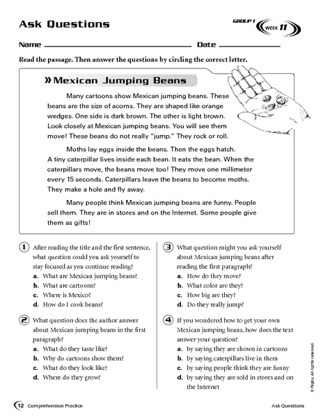 Ask Questions Mexican Jumping Beans 2nd  3rd Grade Worksheet