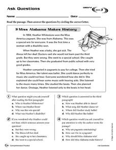 Ask Questions: Miss Alabama Makes History Worksheet