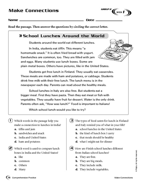 Making Connections: School Lunches Around the World Worksheet
