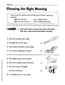 Choosing the Right Meaning Worksheet