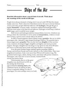 Ships of the Air Worksheet