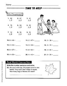 Time to Help: Multiplication Worksheet