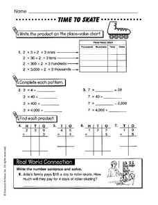 Time to Skate: Place Value, Patterns, Products Worksheet