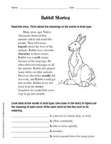 Rabbit Stories Worksheet